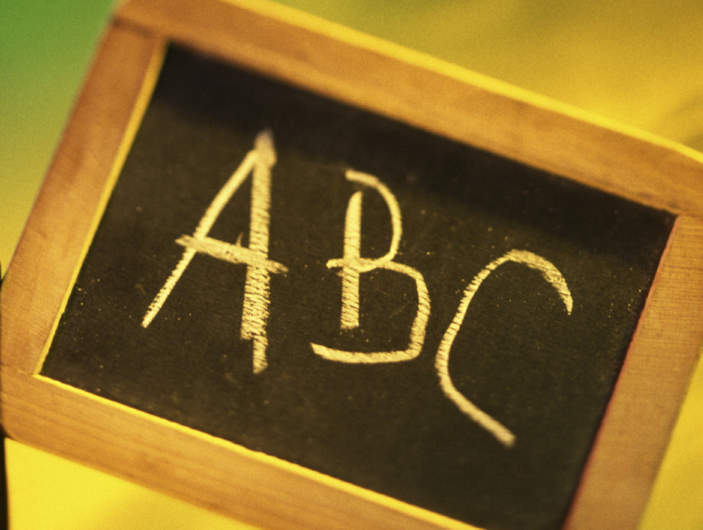 Blackboard on Yellow Background with ABS Writing