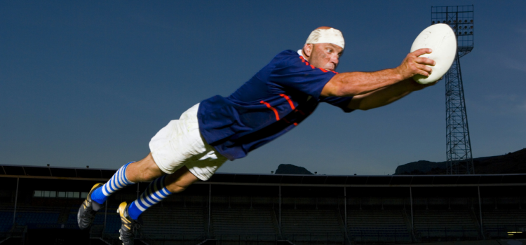 Flying Rugby Player Featured