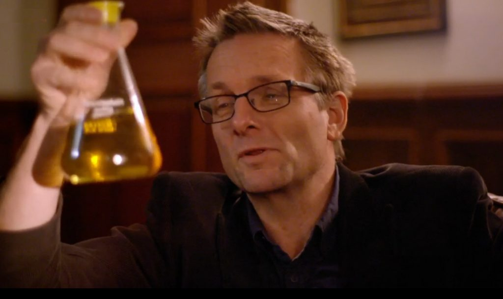 Michael Mosley with Urine Flask